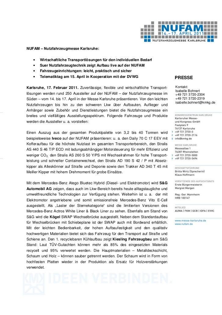 NUFAM – Nutzfahrzeugmesse Karlsruhe:    •   Wirtschaftliche Transportlösungen für den individuellen Bedarf    •   Suer Nut...