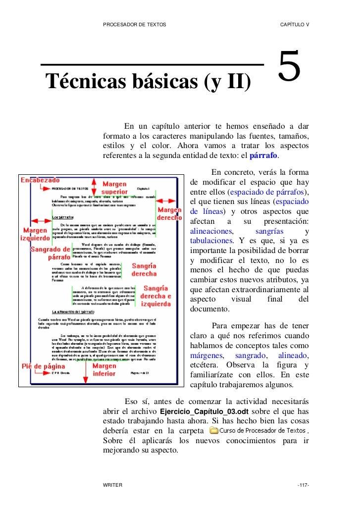 PROCESADOR DE TEXTOS                               CAPÍTULO V     Técnicas básicas (y II)                                5...