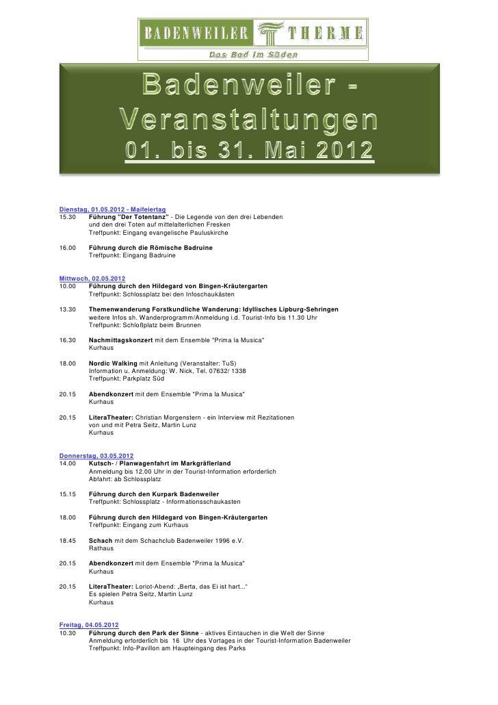 """Dienstag, 01.05.2012 - Maifeiertag15.30    Führung """"Der Totentanz"""" - Die Legende von den drei Lebenden         und den dre..."""
