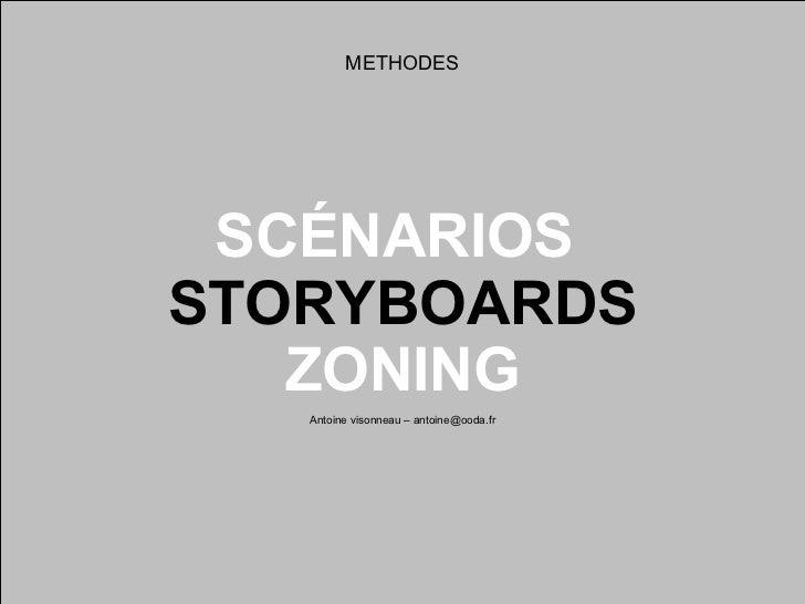 SCÉNARIOS  STORYBOARDS ZONING Antoine visonneau – antoine@ooda.fr METHODES