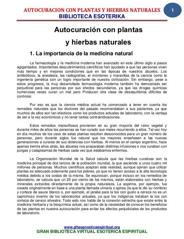 AUTOCURACION CON PLANTAS Y HIERBAS NATURALES                                                1              BIBLIOTECA ESOT...