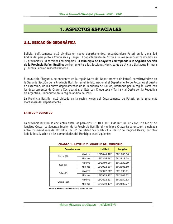 2                              Plan de Desarrollo Municipal Chayanta 2008 - 2012                              1. ASPECTOS ...