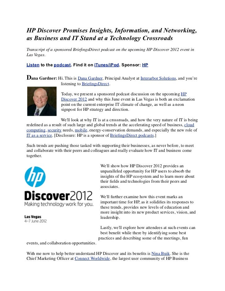 HP Discover Promises Insights, Information, and Networking,as Business and IT Stand at a Technology CrossroadsTranscript o...