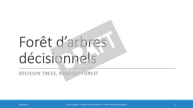 Forêt d'arbres décisionnels DECISION TREES, RANDOM FOREST 30/06/2016 BORIS GUARISMA - FORMATION DATA SCIENTIST - FORÊT D'A...