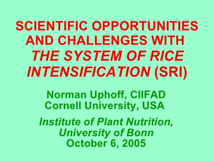 SCIENTIFIC OPPORTUNITIES AND CHALLENGES WITH  THE SYSTEM OF RICE INTENSIFICATION  (SRI) Norman Uphoff, CIIFAD Cornell Univ...
