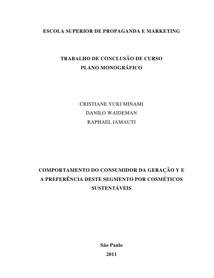 ESCOLA SUPERIOR DE PROPAGANDA E MARKETING      TRABALHO DE CONCLUSÃO DE CURSO            PLANO MONOGRÁFICO           CRIST...