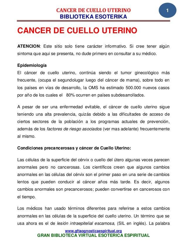 CANCER DE CUELLO UTERINO                                  1                     BIBLIOTEKA ESOTERIKACANCER DE CUELLO UTERI...