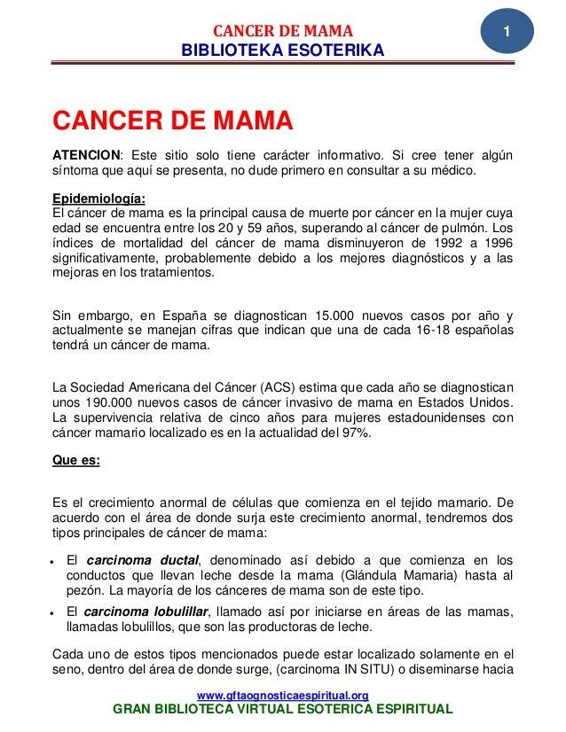 CANCER DE MAMA                                    1                      BIBLIOTEKA ESOTERIKACANCER DE MAMAATENCION: Este ...