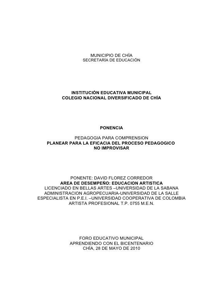 MUNICIPIO DE CHÍA                   SECRETARÍA DE EDUCACIÓN                 INSTITUCIÓN EDUCATIVA MUNICIPAL          COLEG...