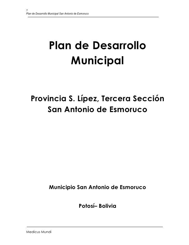 1Plan de Desarrollo Municipal San Antonio de Esmoruco                  Plan de Desarrollo                      Municipal  ...