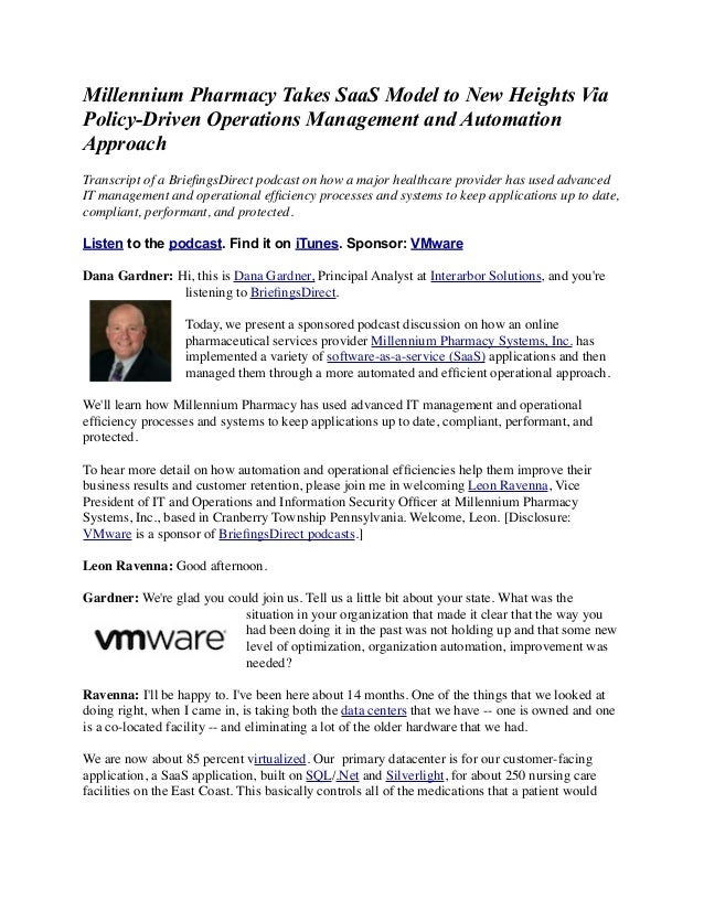 Millennium Pharmacy Takes SaaS Model to New Heights Via Policy-Driven Operations Management and Automation Approach