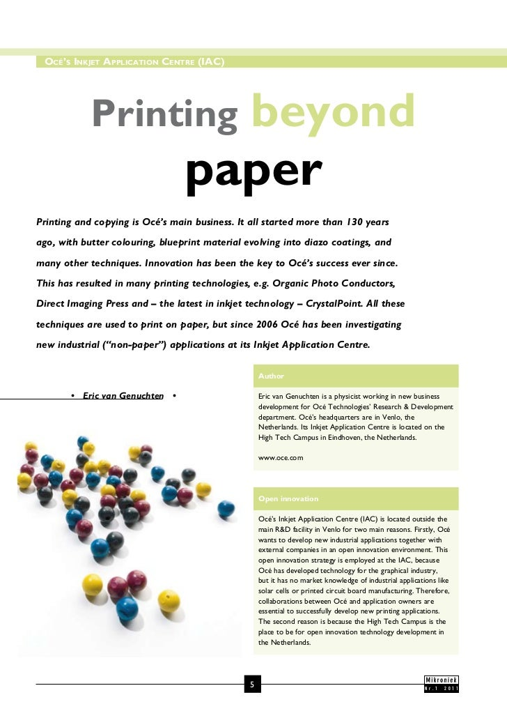 Océ's Inkjet ApplIcAtIOn centre (IAc)            Printing                            beyond                               ...