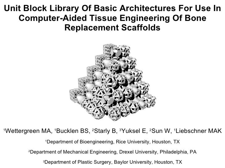 Unit Block Library Of Basic Architectures For Use In Computer-Aided Tissue Engineering Of Bone Replacement Scaffolds 1 Wet...