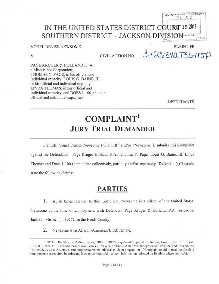 "3.        At all times relevant to this Complaint, Defendant Page Kruger & Holland. (""PKH,""""named Defendant(s),"" and singl..."