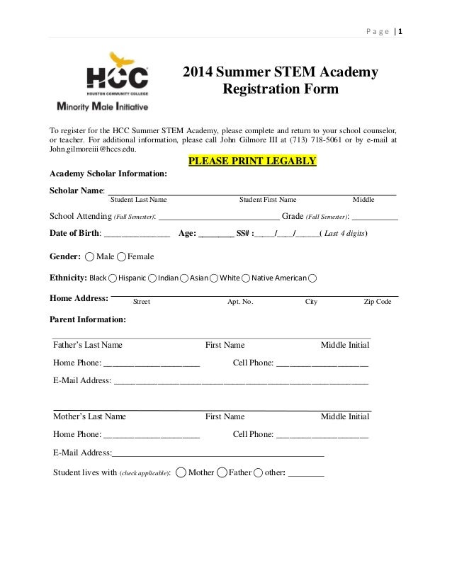 P a g e | 1 2014 Summer STEM Academy Registration Form To register for the HCC Summer STEM Academy, please complete and re...
