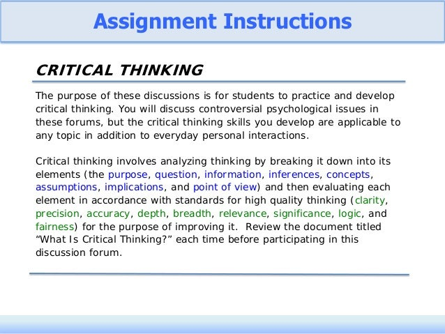 Developing Critical Thinking in Students