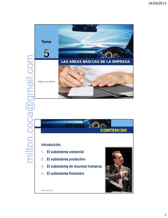04/06/20131LAS AREAS BÁSICAS DE LA EMPRESAMilton Coca Ph.D.TemaCONTENIDOIntroducción.1. El subsistema comercial2. El subsi...