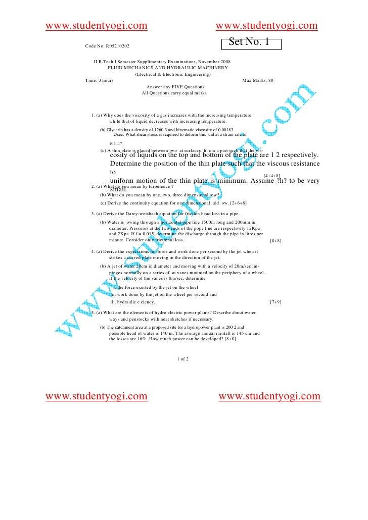 05210202 Fluid Mechanics  And  Hydraulic Machinery