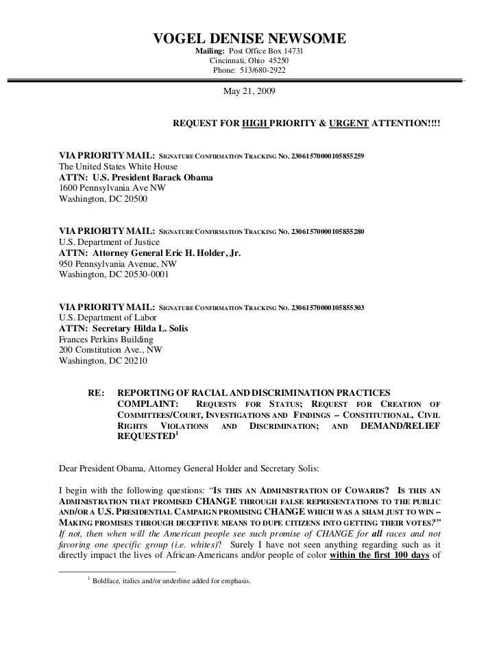 05/21/09 - REPORTING OF RACIAL AND DISCRIMINATION PRACTICES COMPLAINT:  Requests For Status; Request For Creation Of Committees/Court, Investigations And Findings - Constitutional, Civil Rights Violations and Discrimination; and DEMAND/RELIEF REQUESTED