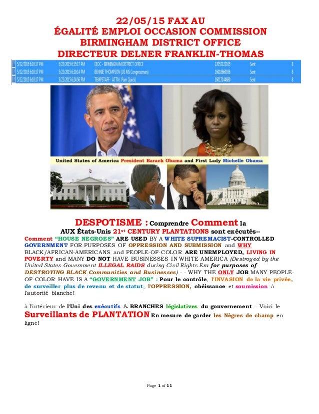 Page 1 of 11 22/05/15 FAX AU ÉGALITÉ EMPLOI OCCASION COMMISSION BIRMINGHAM DISTRICT OFFICE DIRECTEUR DELNER FRANKLIN-THOMA...