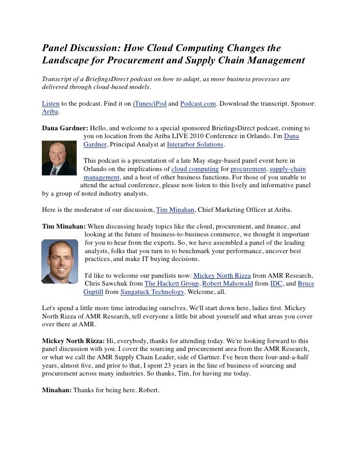 Panel Discussion: How Cloud Computing Changes the Landscape for Procurement and Supply Chain Management Transcript of a Br...