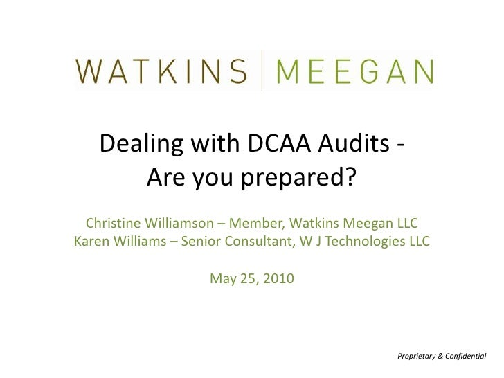 Watkins Meegan, Presents Dealing with DCAA Audits