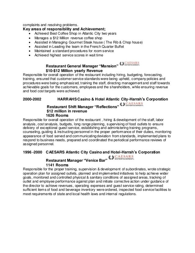 Coffee Shop Manager Sample Resume] Coffee Shop Manager Cv Sample ...