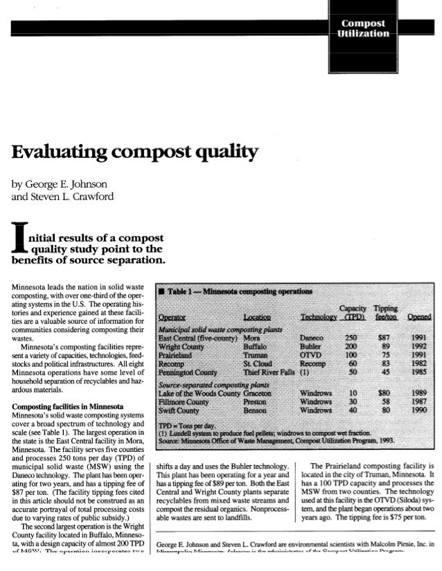 Evahating                          compost qalityby George E. Johnsonand Steven L. Crawford1  nitial results of a compost ...