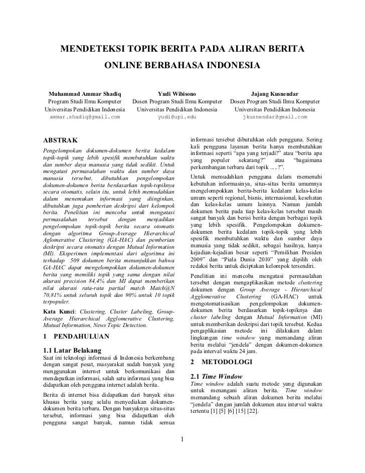 Mendeteksi Topik Berita Pada Aliran Berita Online Berbahasa Indonesia