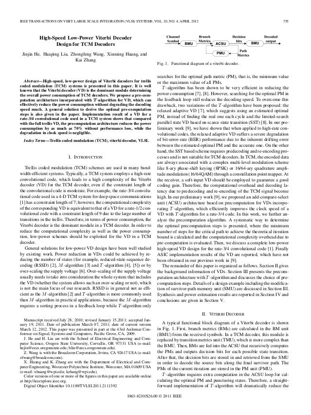 IEEE TRANSACTIONS ON VERY LARGE SCALE INTEGRATION (VLSI) SYSTEMS, VOL. 20, NO. 4, APRIL 2012  755  High-Speed Low-Power Vi...