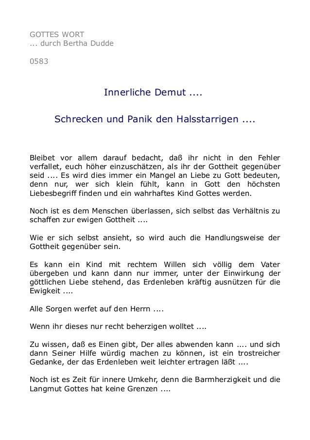 GOTTES WORT ... durch Bertha Dudde 0583 Innerliche Demut .... Schrecken und Panik den Halsstarrigen .... Bleibet vor allem...