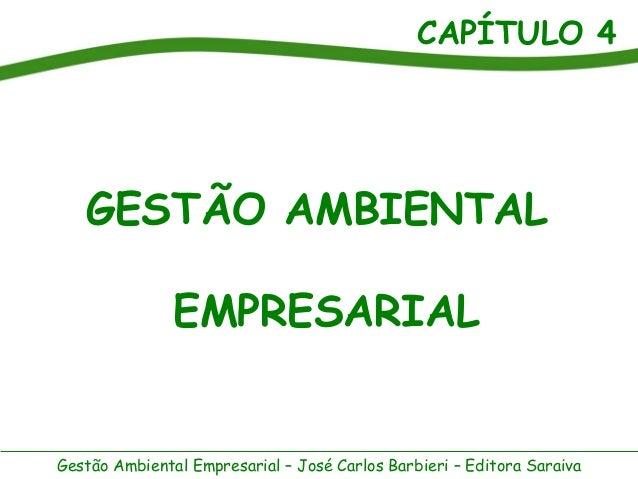 CAPÍTULO 4 Gestão Ambiental Empresarial – José Carlos Barbieri – Editora Saraiva GESTÃO AMBIENTAL EMPRESARIAL