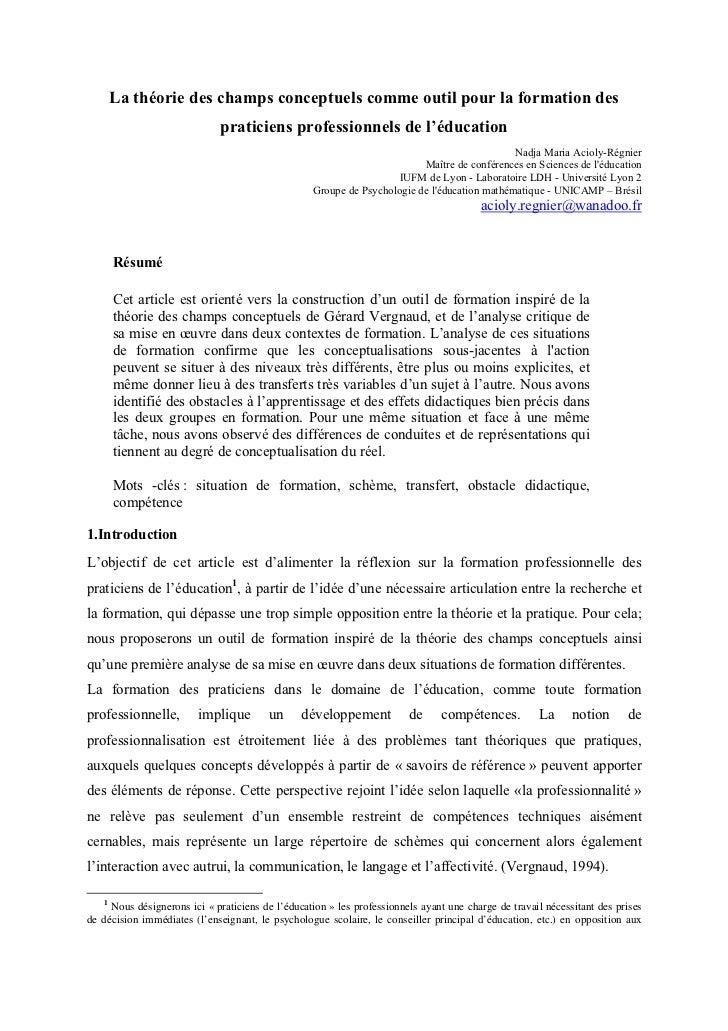 La théorie des champs conceptuels comme outil pour la formation des                              praticiens professionnels...