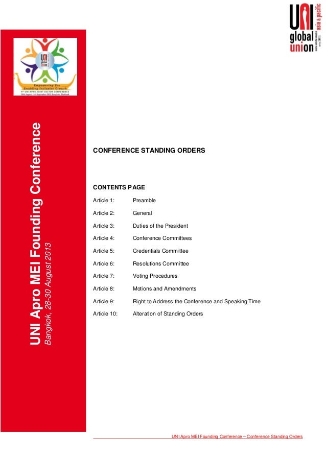 05 conference standing orders
