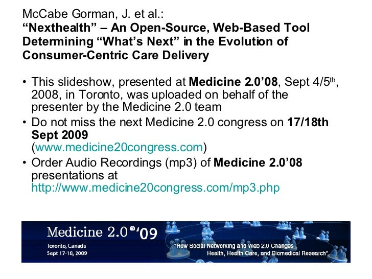 """""""Nexthealth"""" – An Open-Source, Web-Based Tool Determining """"What's Next"""" in the Evolution of Consumer-Centric Care Delivery [05 Cr2 1330 Mccabegorman]"""