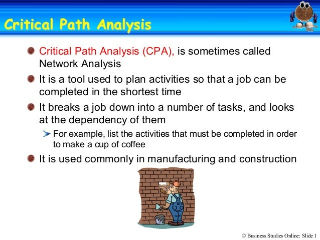 critical path analysis coursework Develop a critical path analysis diagram,planning and safetystudent will develop a critical path analysis diagram and gantt chart for an assigned industry project.