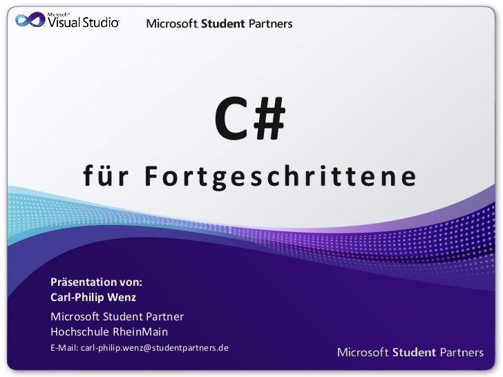 C# für Fortgeschrittene