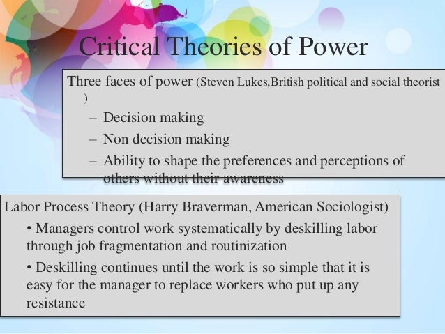 lukes three dimensions of power Luke's three dimensions of power power serves to create power powerlessness serves to re-enforce powerlessness(gaventa,1980:256) such is the essence of the on going relationship between the powerful and the powerless of the appalachian valley where acquiescence of the repressed has become not only common practice but a way of life and a means of survival.