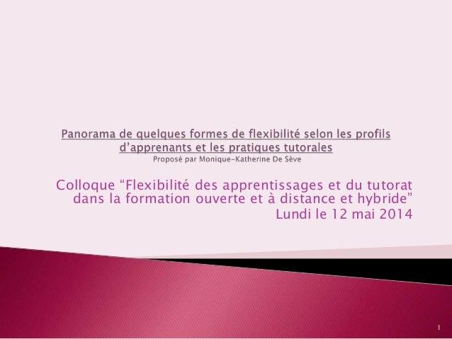 """Colloque """"Flexibilité des apprentissages et du tutorat dans la formation ouverte et à distance et hybride"""" Lundi le 12 mai..."""