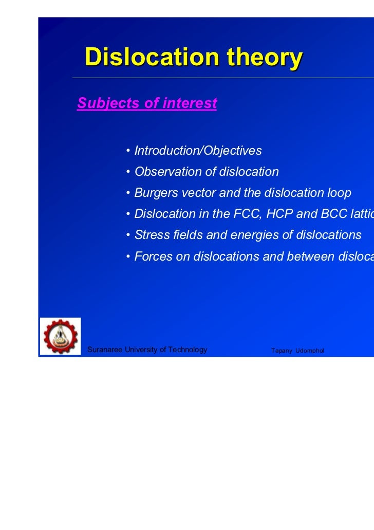Chapter 5 Dislocation theorySubjects of interest           • Introduction/Objectives           • Observation of dislocatio...