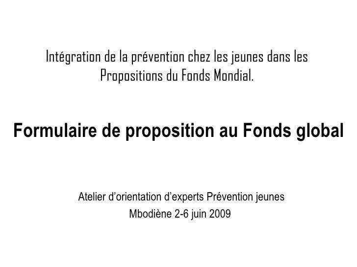 Intégration de la prévention chez les jeunes dans les Propositions du Fonds Mondial. Atelier d'orientation d'experts Préve...