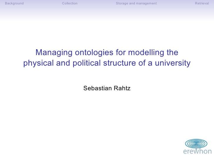 Managing Ontologies