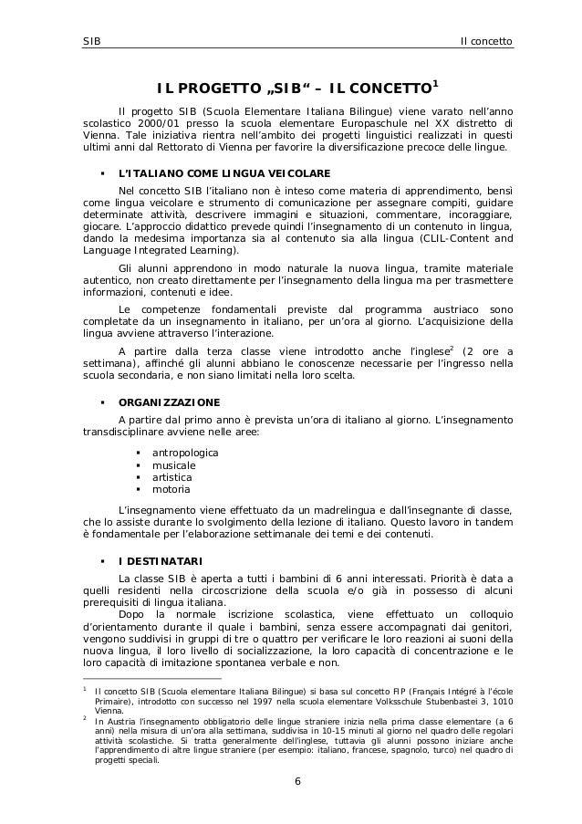 """SIB Il concetto 6 IL PROGETTO """"SIB"""" – IL CONCETTO1 Il progetto SIB (Scuola Elementare Italiana Bilingue) viene varato nell..."""