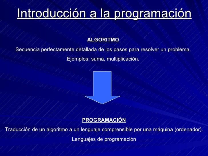 Introducción a la programación ALGORITMO Secuencia perfectamente detallada de los pasos para resolver un problema. Ejemplo...
