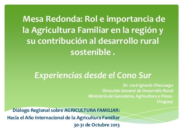 Rol e importancia de la Agricultura Familiar en la región y su contribución al desarrollo rural sostenible