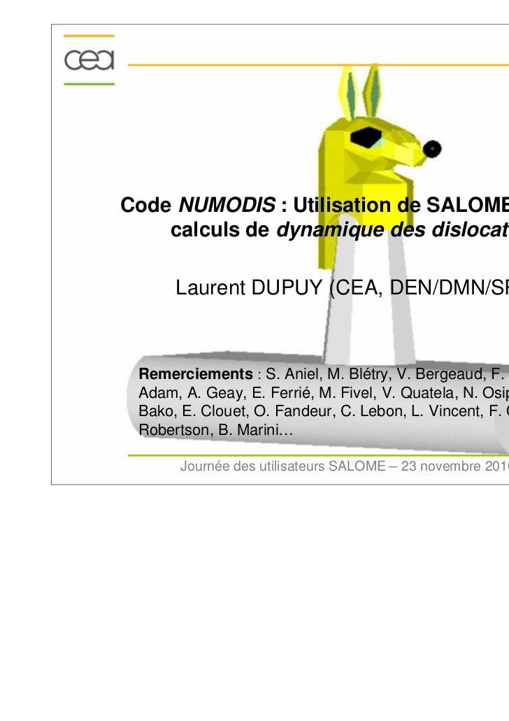 Code NUMODIS : Utilisation de SALOME pour les    calculs de dynamique des dislocations      Laurent DUPUY (CEA, DEN/DMN/SR...