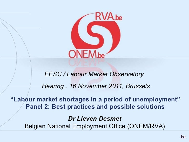""""""" Labour market shortages in a period of unemployment"""" Panel 2: Best practices and possible solutions EESC /  Labour Marke..."""