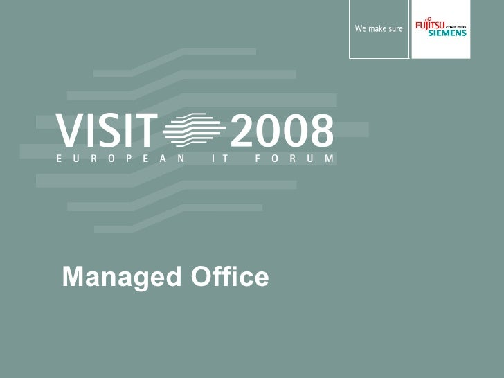 Title of presentation in a maximum of two lines Name, Company Managed Office