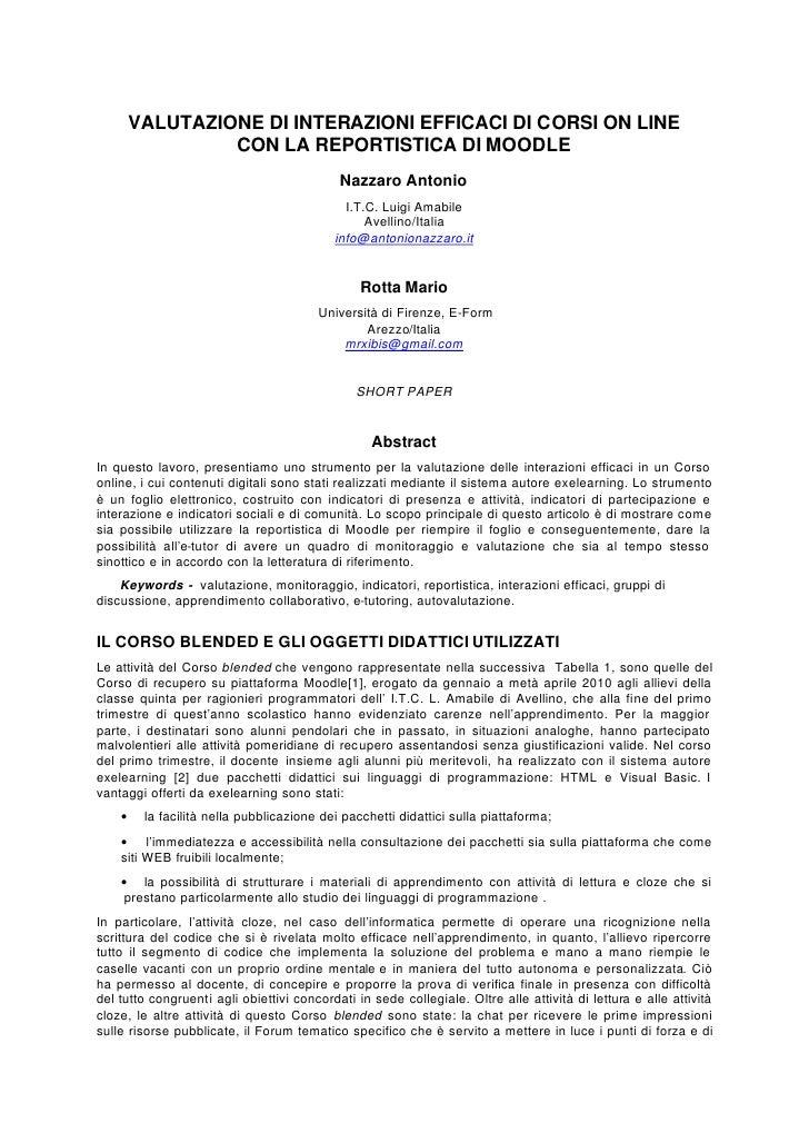 VALUTAZIONE DI INTERAZIONI EFFICACI DI CORSI ON LINE                  CON LA REPORTISTICA DI MOODLE                       ...