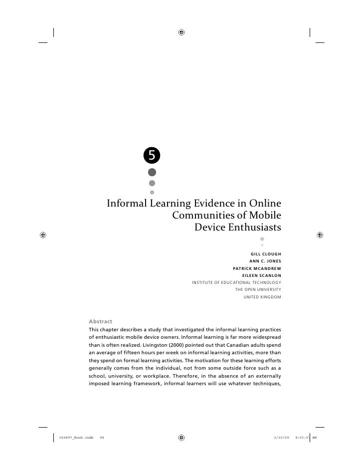 5       Informal Learning Evidence in Online                    Communities of Mobile                         Device Enthu...